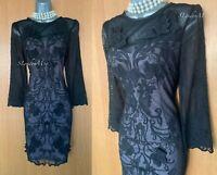 Karen Millen UK 10 Black 3D Floral Lace Embroidered Evening Wiggle Dress DP309