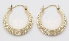 10k Yellow Gold Greek Scroll Ladies Hoop Earrings