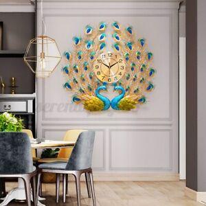 Luxury Peacock Large Wall Clock 3D Metal Living Room Wall Watch 12H Quartz Decor