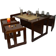 Adults 3 in 1 Multifunctional Furniture Nest of Coffee Tables Set of 4 Dark Wood