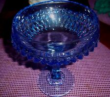 """VINTAGE BLUE PRESSED GLASS BUBBLE STEM PEDESTAL COMPOTE CANDY DISH  7"""" Tall"""