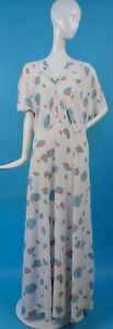 LATE 1930'S SLIPPERY FLORAL PRINT RAYON LONG DRESS IN LARGE SIZE