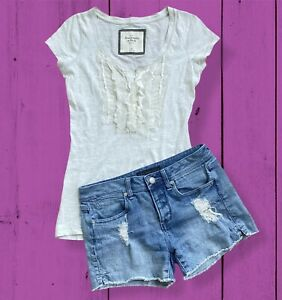 Abercrombie & Fitch Cream Gray Ruffle Lace Detail Short Sleeve Button Henley XS