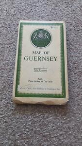 VINTAGE ORDNANCE SURVEY CLOTH MAP – GUERNSEY – FULLY COLOURED 1934