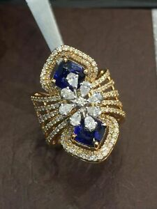 6.67 Cts Round Pear Shape Diamond Sapphire Cocktail Ring In 750 Stamped 18K Gold