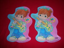 (2) shaped Cute Girl Guitar Rock Star plates-Precious Moments gibson 2006-New