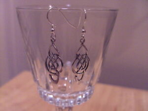 -SOLID STERLING SILVER DROP DANGLE EARINGS CELTIC SHAPE HAND MADE BY ME.