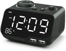 Digital Dual Alarm Clock Radio with Usb Charging Port,Temperature&Larg e Display