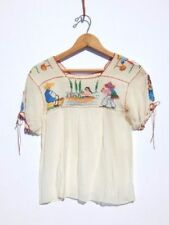 VINTAGE 50'S MEXICAN TOP ~ Embroidered Crepe Ethnic Hippy Peasant Blouse~XS