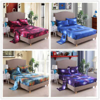 3D Print Galaxy Deep Pocket Bed Sheets Set Cosmos Night Fitted Sheet Pillow Case