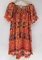 ADRIFT orange Printed Tassel Pocket Tunic Dress Boho Gypsy Size 12 14