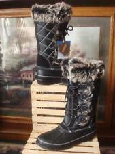 NWT~ KHOMU JANDICE TALL DUCK BOOTS BLACK QUILTED NYLON FAUX FUR CUFF LINED~ 8.5M