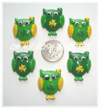 6PC ST PADDY SHAMROCK HOOT OWL ST PATRICK RESIN FLAT BACK FLATBACK 4 HAIRBOW
