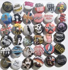 Rock retro buttons 80s 90s lot punk grunge music pins