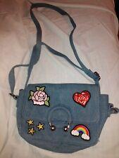 Blue Denim Rose Heart Stars Rainbow Girls Shoulder Purse