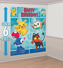 POKEMON CORE Scene Setter HAPPY BIRTHDAY party wall decoration kit 6'  PIKACHU