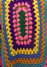"""Vintage Handmade Knitted Crocheted Quilt Blanket Afghan Blue Yellow 44.5"""" X 58"""""""