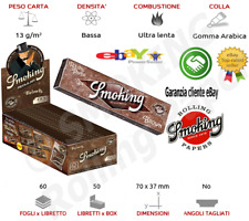 Cartine Smoking Brown Senza Cloro Sigarette Corte Singole Da 50 / 25 LIBRETTI