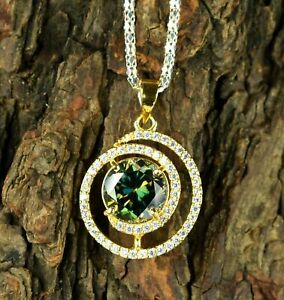 1.75Ct Round Cut Green Emerald & Diamond Pendant 14K Yellow Gold Over Free Chain