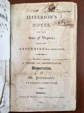 RARE 1800 Thomas Jefferson, Notes State VIRGINIA, Religion, Genealogy, Baltimore