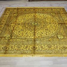 Yilong 9'x9' Square Handknotted Silk Carpet Home Decor Oriental Area Rug 052M