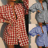 Women Casual Long Sleeve Tunic Top Blouse Shirt Plaid Check Plus Size Mini Dress