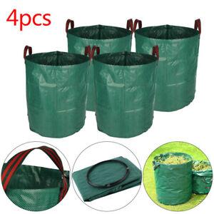 4Pcs Heavy Duty Garden Waste Bags Reusable Rubbish Grass Refuge Sacks Green UK