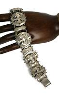 Vintage Lisner Heraldic Crown Eagle Silver Tone Panel Bracelet