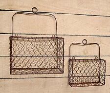 New Primitive French Country Chic SET of 2 RUSTY WIRE WALL BASKET Rustic Baskets
