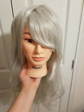 Silver Long Wavy Wig Fashion Cosplay Costume  Hair Party Full Wigs Christmas