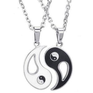 2X Yin Yang Pendant Necklace Chain Couple Friend Friendship Jewelry Gift BestU_X