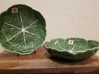 "Set of 2 BORDALLO PINHEIRO 8"" Cabbage Leaf Majolica Dinner Bowl Plate Portugal"
