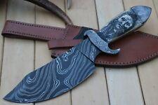 HUNTEX One of Kind Custom Handmade Damascus 12 Inch Scrimshaw Art Hunting Knife