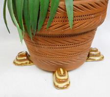 "POT FEET Ceramic Flower Planter Risers ""Tier""  Design Brown Earth Tones Set of 4"