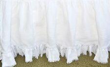 """Soft Surroundings Heritage Linen Bedskirt White Queen 17"""" Drop"""