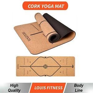 AU Premium 6MM Cork Yoga Mat Natural Rubber Non-slip Pilate Pad Exercise Fitness