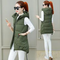 Women Camo Cotton Down Vest Warm Quilted Jacket Hooded Coat Sleeveless Waistcoat