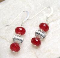 """Quartz Cherry Red 8mm Roundel Gemstone Earrings .925 Sterling Silver Hooks 1.25"""""""