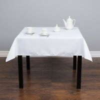 """1-50 Square 54""""x 54"""" inch White Polyester Tablecloth Party Overlay Event SALE"""