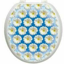 Daisy Flower Blue Round Toilet Seat Cover Tattoo Applique Bath Decor
