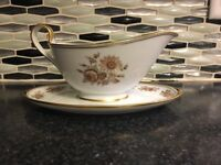 Gerverot Rose (gold Verge) By Furstenberg Gravy Boat W/ Attached Plate GERMANY