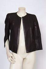 AKRIS Black Leather Trimmed Wool Blend Jacket sz FR 38 US 6 *MINT* $2,990