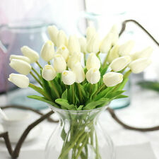 White Artificial Fake Tulip Flowers Wedding Party Home Garden Banquet Decor