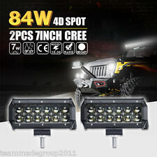 PAIR 7INCH 84W CREE LED LIGHT BAR WORK SPOT DRIVING FOR JEEP SUV PK 36W FLOOD 6""