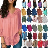 Plus Size Women Long Sleeve Loose Shirts Blouse Tunic Casual T Shirt Tee Tops US