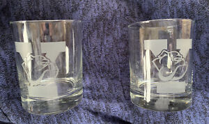 (2) Yale Bulldogs Glass Old Fashioned Double Rocks Whiskey Bourbon Glasses