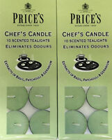 20 x Price's Chef's Candle Tea Lights Scented Eliminates Cooking Odours Scent