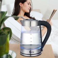 2,5 Liter Edelstahl Glas Wasserkocher 2200 Watt Teekocher LED Beleuchtung