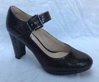 BNIB Clarks Ladies Kendra Gaby Brown Snake Effect Leather Heeled Shoes