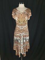 ONE WORLD Size L A-Line Dress Brown White Orange Blue Paisley Short Sleeve